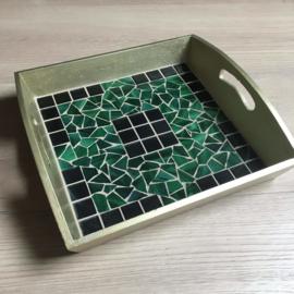 Dienblad vierkant goud/groen