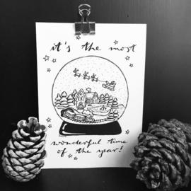 Kerstkaart Sneeuwbol (5 Stuks)