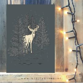 """Kerstkaart """"In het bos"""" donkergrijs"""
