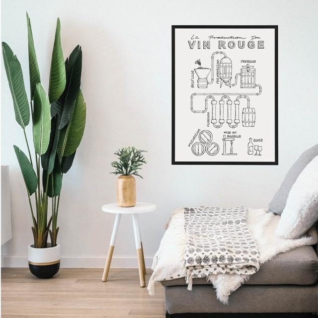 Poster Vin Rouge met lijst
