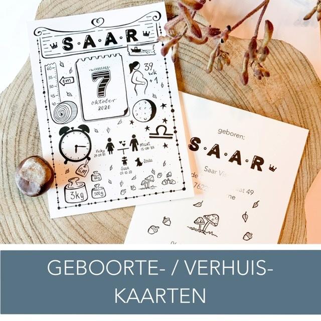 Geboortekaart ontwerpen Verhuiskaart Geboortekaartje Illustratie Tekening