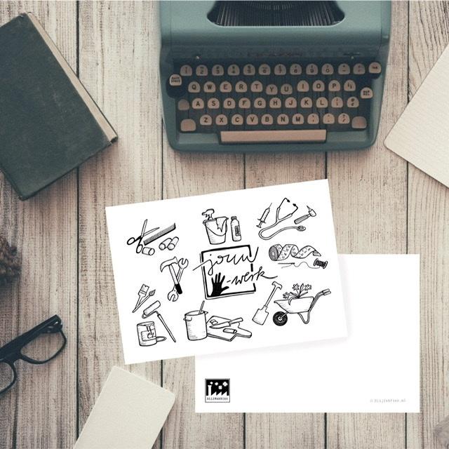 Maatwerk Illustratie Ansichtkaart Ontwerp Kaart Ontwerpen Bedrijfskaart Business Card