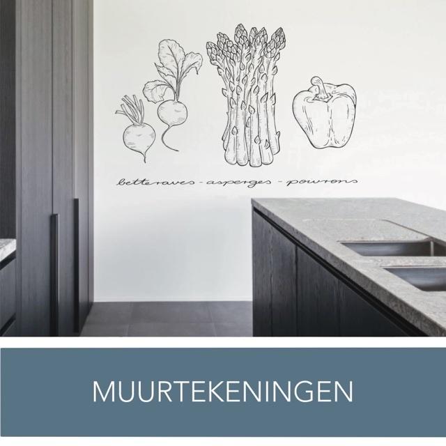 Muurtekening | Muurschildering | Wanddecoratie | Muurtekening | Keukeninspiratie