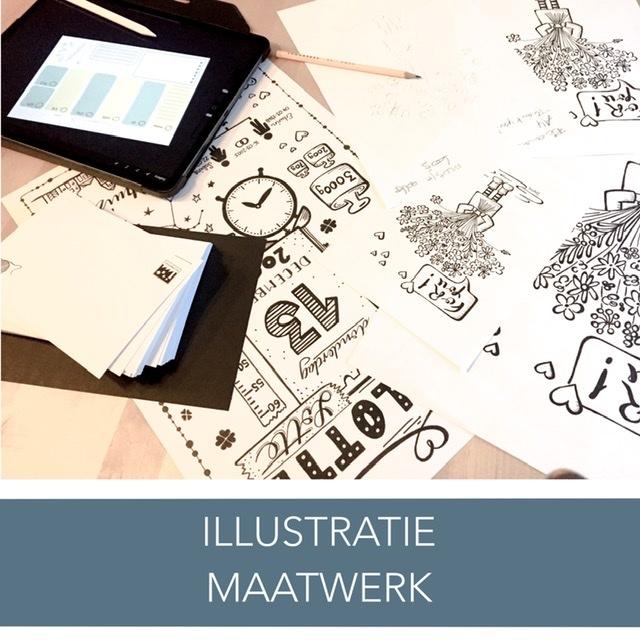 Illustratieontwerp | Illustratiedesign | Ontwerp op maat | Kaartjes op maat | Geboortekaart | Trouwkaart | Uitnodiging | Bedrijfskaart | Visitekaart | Businesscard