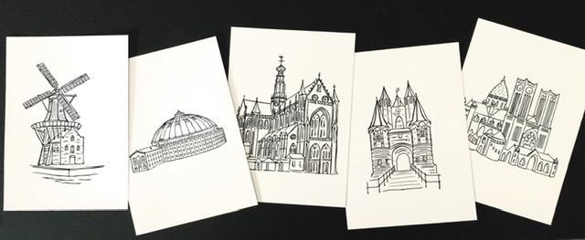 Illustraties Tekeningen Haarlem Stadstekening Molen de Adriaan Grote Kerk St. Bavo Koepelgevangenis Amsterdamsepoort Kathedraal St. Bavo