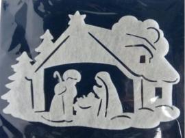 Kerst | Raamsticker kerststal 32 x 40 cm wit