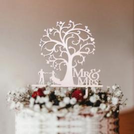 Houten taarttopper | 'Mr&Mrs'