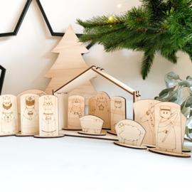 Houten kerststal | Compleet