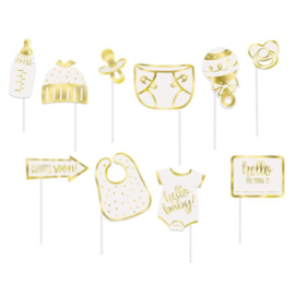 Photo Booth Props 'Hello Baby' | 10 STUKS