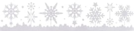 Kerst | Raamsticker sneeuwvlokken 9,5 x 40 cm zilver