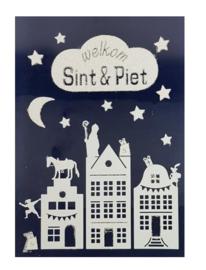 Sinterklaas | Raamstickers met glitter welkom Sint & Piet  28,5 x 40 cm wit