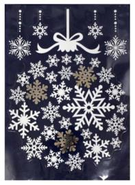 Kerst | Raamsticker sneeuwvlok 28,5 x 40 cm wit/goud
