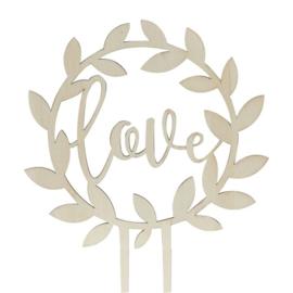 Houten taarttopper 'Love'
