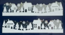 Kerst | Raamsticker dorpjes 44,5 x 24 cm wit/zilver 2-delig