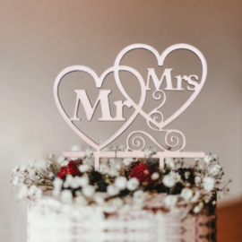 Taarttopper | houten harten 'Mr&Mrs'
