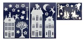 Sinterklaas | Raamstickers met glitter 28,5 x 40 cm wit 3 stuks