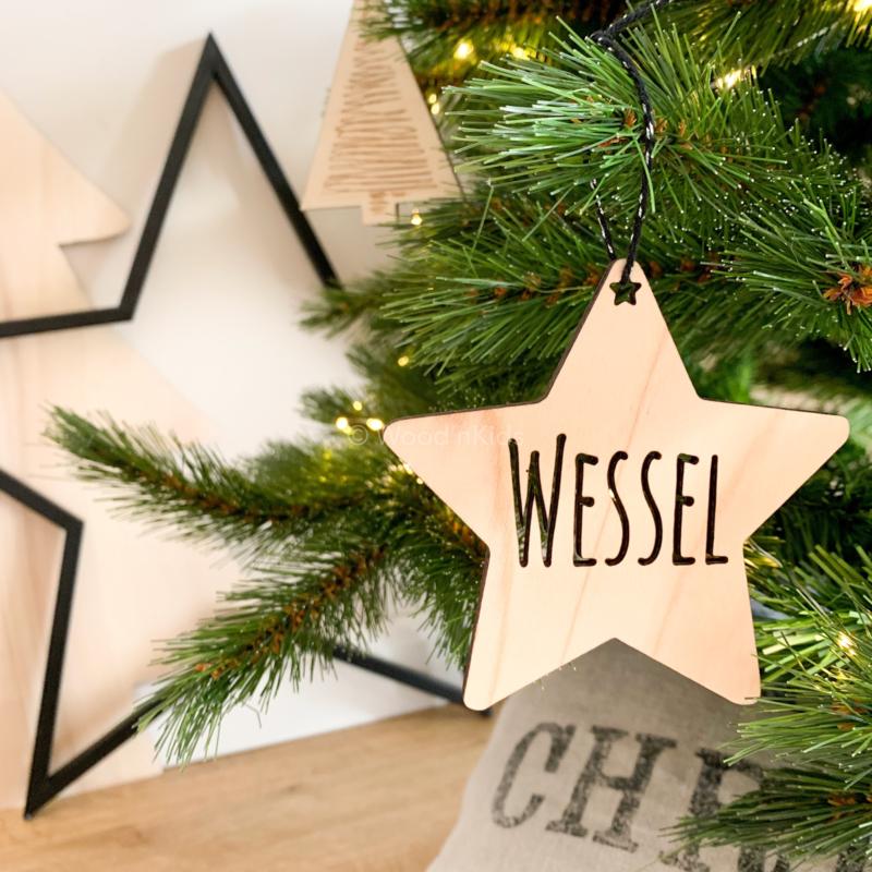Houten kerstster   Met naam