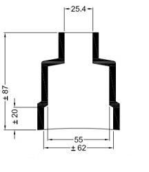 Universele eindkap mof recht ø62mm-55mm ø24,4mm