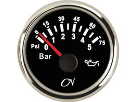 CN Oliedrukmeter zwart / chroom 0-5 bar