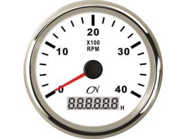 CN Toerenteller met bedrijfsurenteller 0-4000 rpm wit / chroom