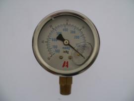 Vacuümmeter RVS gevuld met Glycerine
