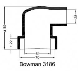 Bowman 3186 eindkap manchet  ø70mm ø28mm haaks