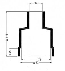 Universele eindkap mof recht ø75mm-82m ø 34mm