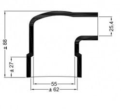 Universele eindkap mof haaks ø62mm-55mm ø25,4mm