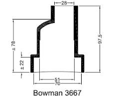 Bowman eindkap manchet 3667NP ø70mm ø28mm recht