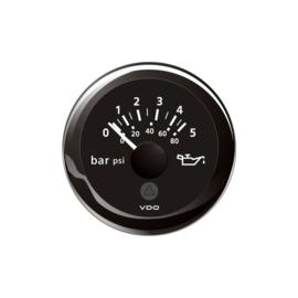 VDO oliedrukmeter 0-5 bar zwart