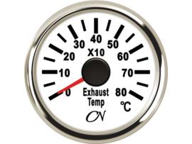 CN Uitlaattempratuurmeter wit / chroom (pyrometer)