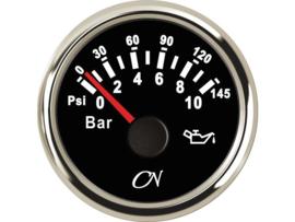 CN Oliedrukmeter zwart / chroom 0-10 bar
