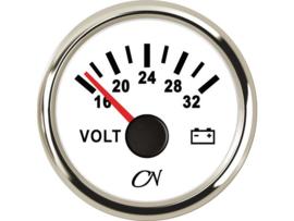 CN Voltmeter 16-32 volt wit / chroom