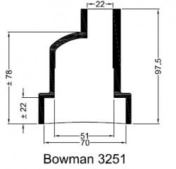 Bowman 3251 eindkap manchet ø70mm ø22mm recht