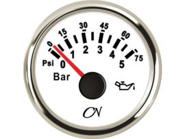 CN Oliedrukmeter wilt / chroom 0-5 bar