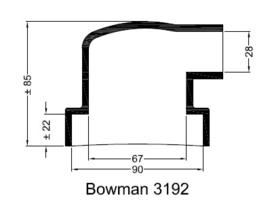 Bowman 3192 eindkap mof manchet  ø90mm ø28mm haaks