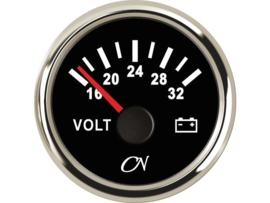 CN Voltmeter 16-32 volt wit chroom