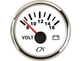 CN Voltmeter 8-16 volt wit / chroom