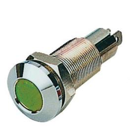 Controlelampje verchroomd messing groen inbouw 18mm 12/24 volt