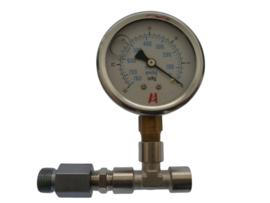 Vacuümeter set voor Delphi filter met opvoerpomp. Glycerine gevulde vacuümeter