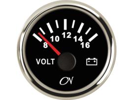 CN Voltmeter 8-16 volt zwart / chroom