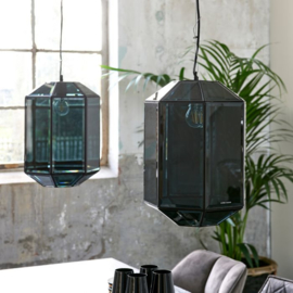 French Glass Hanging Lamp black