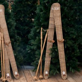 Rustic Rattan Ski Set