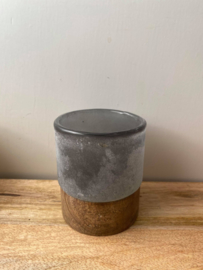 Theelicht van hout & glas Brynxz (Small) - Grijs
