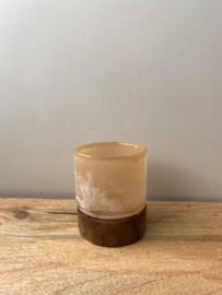 Theelicht van hout & glas Brynxz (Small) - Beige