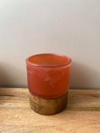 Theelicht van hout & glas Brynxz (Large) - Rood