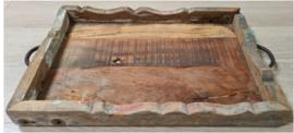 Industrieel dienblad oud hout