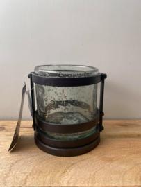 Ijzeren theelichthouder + glas Brynxz (Set - Large) - Ø13x13cm