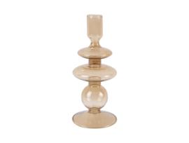 Candle Holder Glass Art Rings Medium | SAND BROWN
