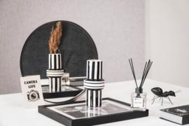 Housevitamin Breton streep vaas | Zwart/Wit | 8,5x20 cm
